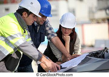 construcción, equipo, sitio