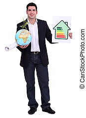 Architect with a globe and energy rating sign