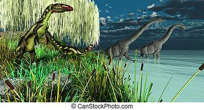 Brachiosaurus and Dilong Dinosaurs - Small Dilong dinosaurs...
