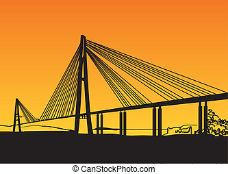 Modern bridge fragment: black against bright orange Vector...