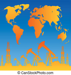 Map and oil rig - White World Map, Oil rig and oil pump....
