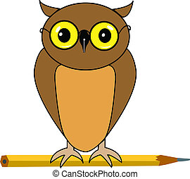Owl - Back to school - Cartoon owl sitting on a pencil