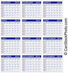 Calendar 2013. Vector Illustration