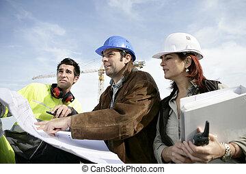 construção, local, pessoal