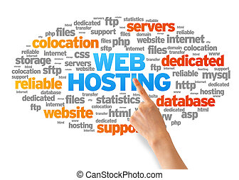 Web Hosting - Hand pointing at a Web Hosting Word Cloud on...