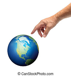 Hand touching planet Earth