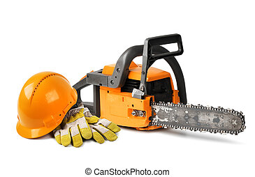 Chain saw and safety gear - Chain saw and orange hard hat...