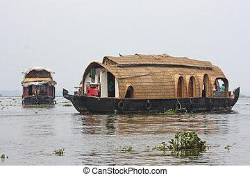 Houseboat taken in backwater of Kerala , India