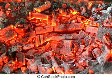 Węgiel, drewno, jesion, płonący, piec