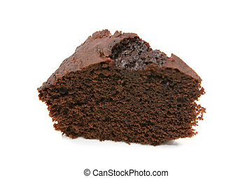 slice of chocolate cake isolated over white