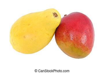 papaya and mango isolated