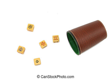 poker dice game isolated over white