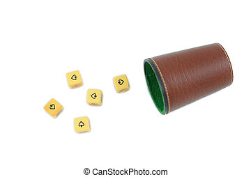 poker dice game - poker dice and cup isolated over white