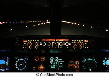 avión, pista, aterrizaje, adelante, noche
