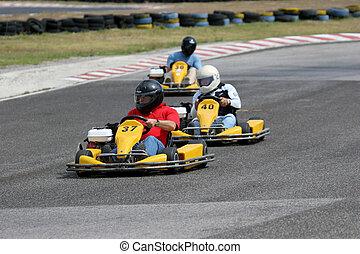 riding a kart