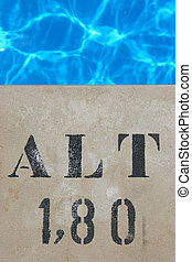 Pool sign 180 cm and pool water