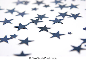 scattered blue stars with selective focus isolated over...