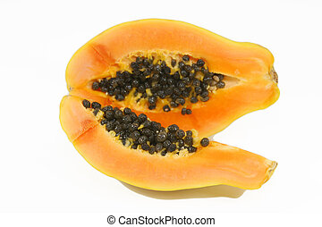 open papaya with seeds and pulp isolated over white