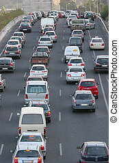 traffic lanes at rush hour - highway traffic lanes at rush...