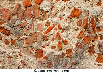 decaying wall made of concrete and brick - horizontal...