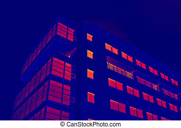 glassy office building in thermal imaging simulation - glass...