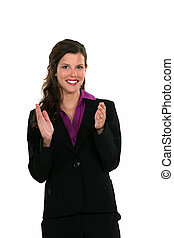 mujer de negocios, Aplaudir, ella, Manos