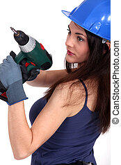 Woman with drill