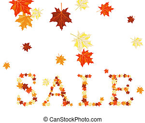 sale word - Autumn maples leaves sale word. Vector...