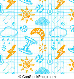 Weather hand drawn seamless pattern.