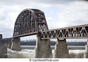 Steel Railroad River Bridge