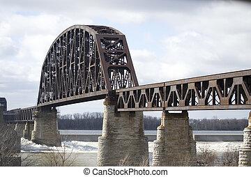 Acero, ferrocarril, río, Puente