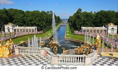 famous petergof fountains in St Petersburg Russia
