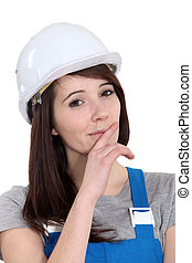 Female laborer with cunning plan