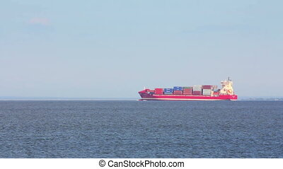 large ship loaded with containers