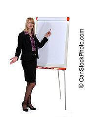 Businesswoman standing by a flip chart