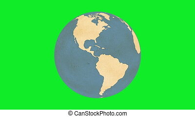Paper Globe Greenscreen - Animation of Planet Earth, made of...