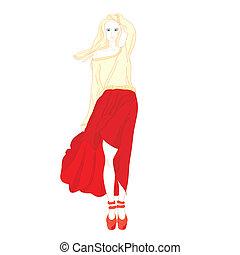girl in red skirt