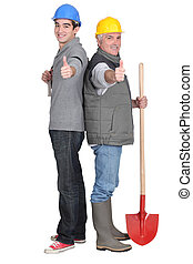 Father and son gardening team