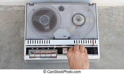 vintage recorder - vintage tape recorder playing an original...