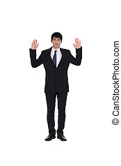 attractive businessman hands up