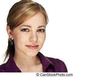 portrait, jeune, beau, blond, Business, femme, blanc, fond
