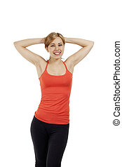 blonde young fitness woman with her arms in her neck on white background
