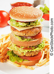 Double chicken burger with cheese, tomato and lettuce