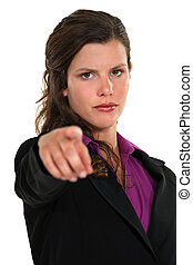 Businesswoman pointing the blame