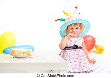 Little girl celebrating second birthday