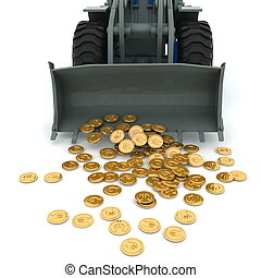 bulldozer raked pile of coins over white background