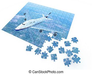 puzzle with by flying airplane