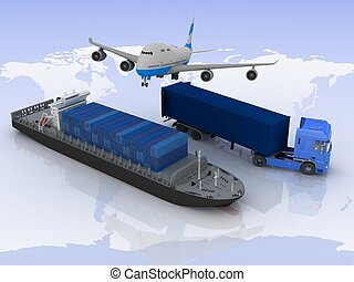 types of transport of transporting loads on a background map...