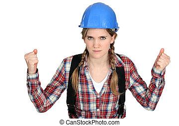 Women with helmet