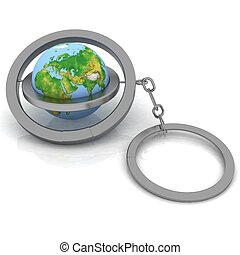 3d illustration trinket. Globe connected with a chain